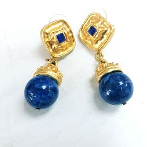 Vintage Blue & Gold Post Drop Earrings